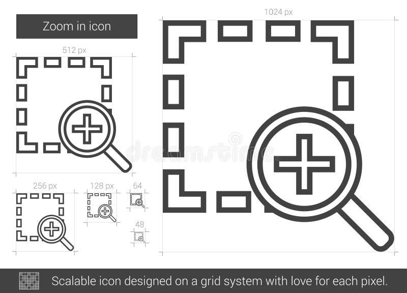 In zoomar linjen symbol stock illustrationer