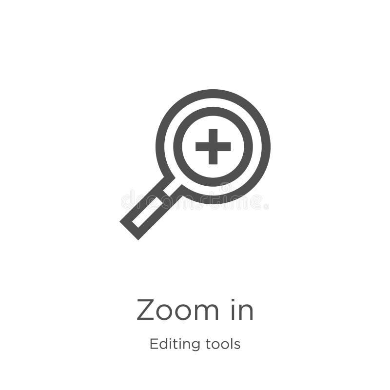 in zoomar symbolsvektorn från att redigera hjälpmedelsamlingen Den tunna linjen zoomar in illustrationen för översiktssymbolsvekt royaltyfri illustrationer