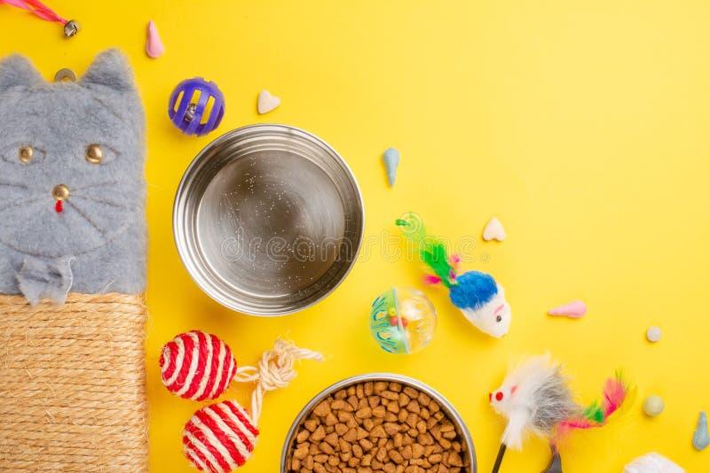 Zoomarket и магазин любимца Catty предпосылка, с аксессуарами кота на желтой предпосылке Кот Плоск-положение стоковые фото