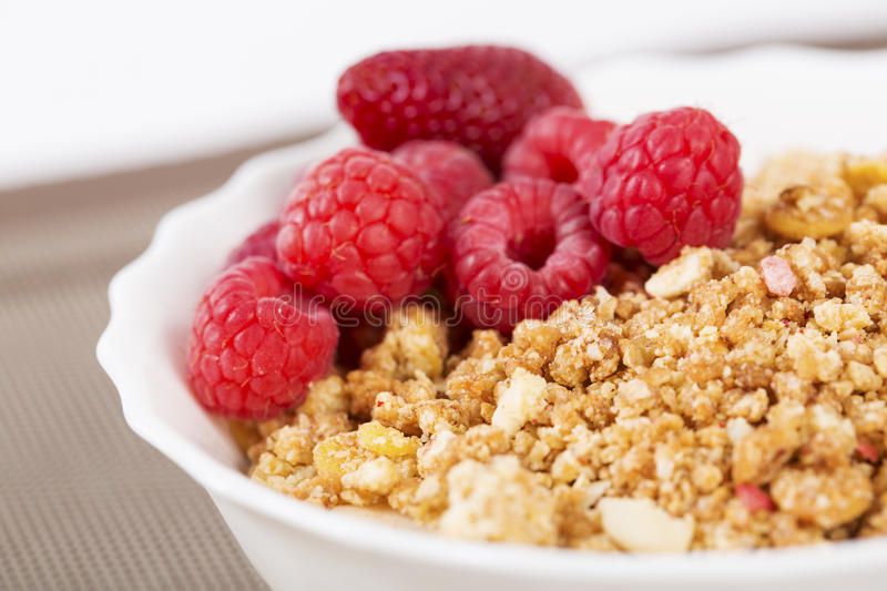 Zoomed berries on golden cereals in bowl royalty free stock photo