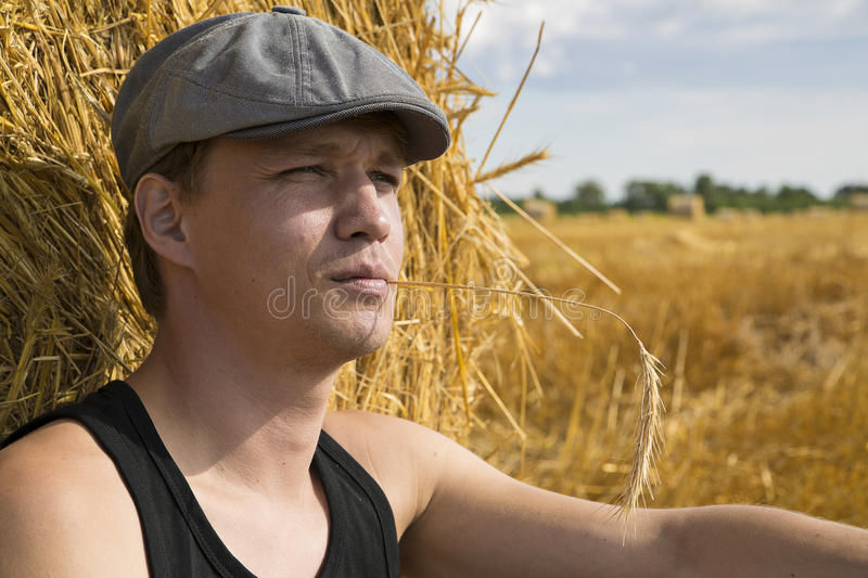 Zoomed Man Near Rye Ball Make Thoughts Royalty Free Stock Photo