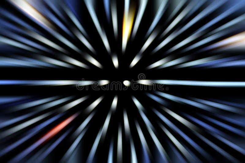 Zoomeffekt-Lichtstrahl bokeh Bewegung verwischt auf Hintergrund des dunklen Schwarzen lizenzfreie stockbilder