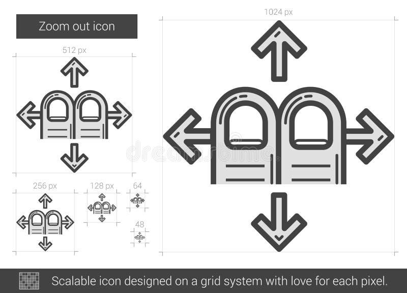 Zoomen ut fodrar symbolen stock illustrationer