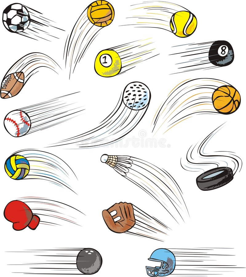Zooming Sport Balls. Sport balls in zooming fashion. Uniquely drawn with a swish effect. Sport balls and gears include a basketball, soccer ball, tennis ball stock illustration