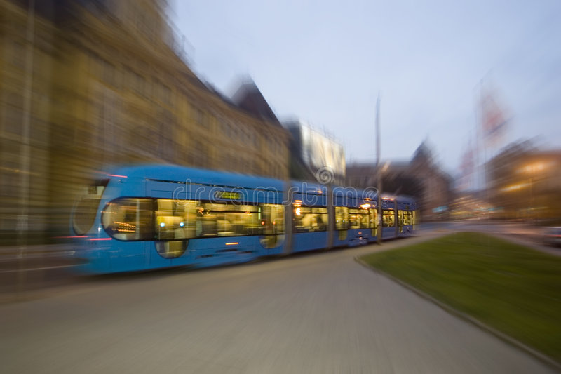 Zooming Tram royalty free stock photo