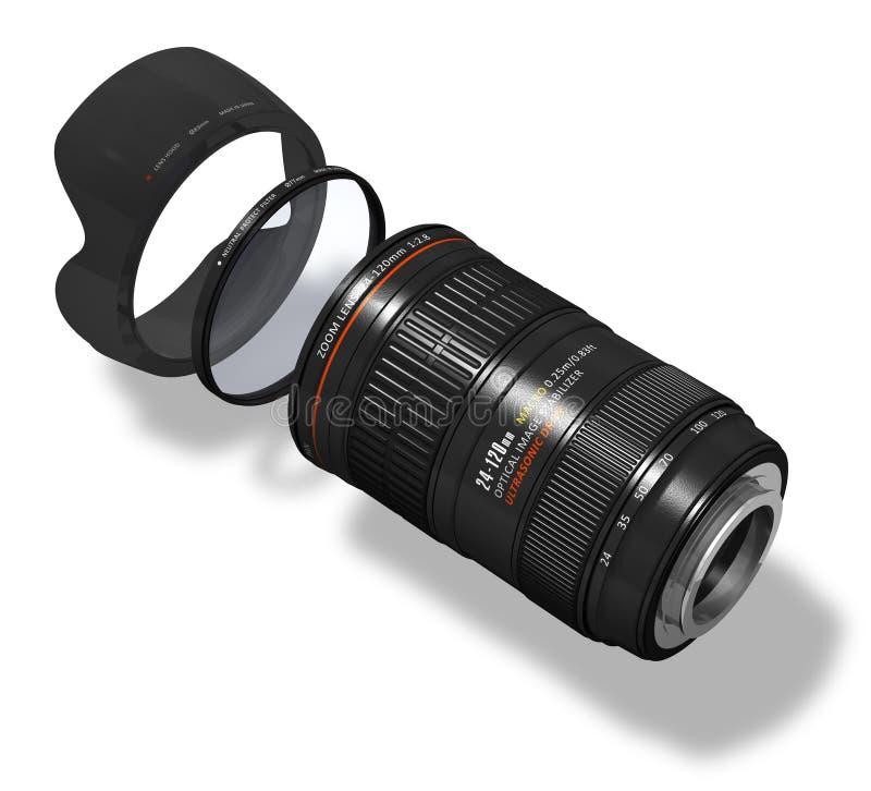 Zoomobjektiv mit Haube und Filter vektor abbildung
