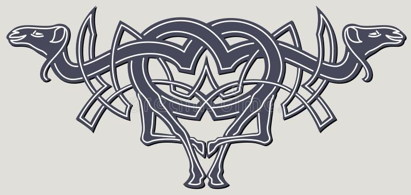 Zoomorph celtic motifs stock illustration