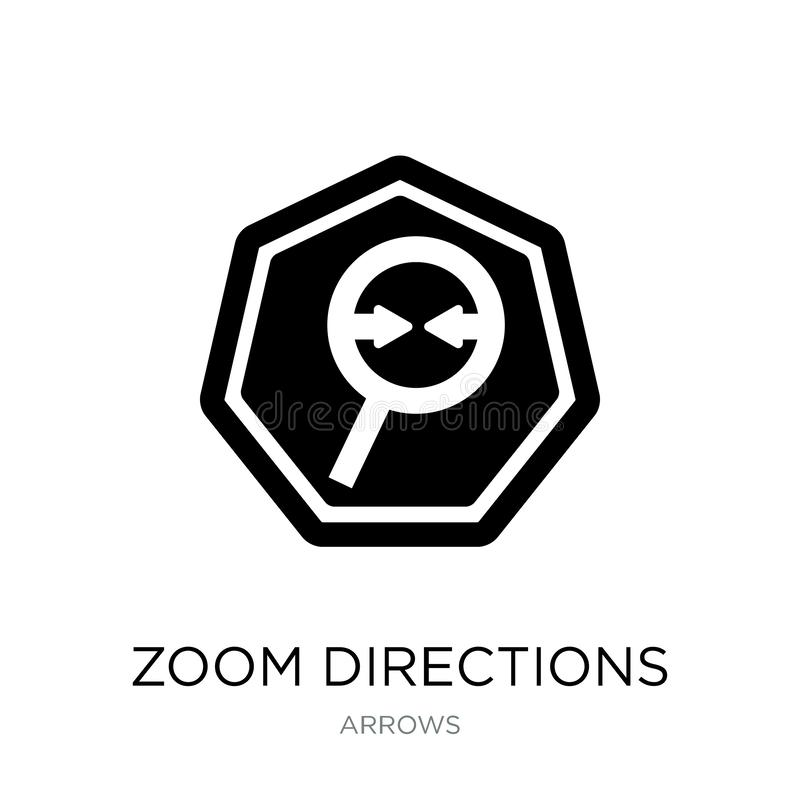 zoomriktningssymbol i moderiktig designstil zoomriktningssymbol som isoleras på vit bakgrund enkel symbol för zoomriktningsvektor vektor illustrationer