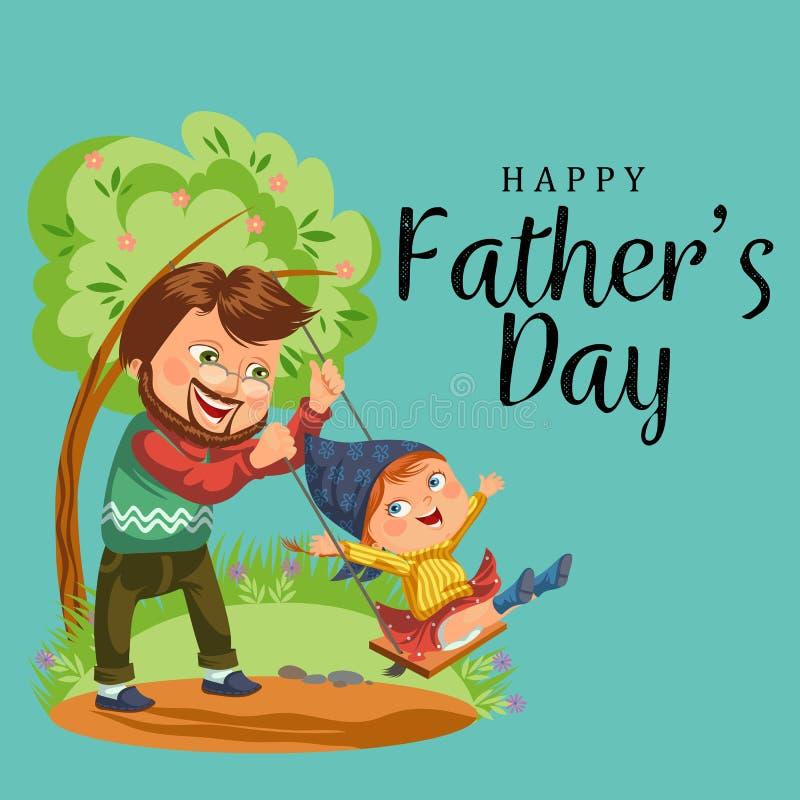 Zoon en dochter de zorg maakt ouder, papazitting in rolstoel, de gelukkige achtergrond van de vadersdag, hogere handicapman vrouw royalty-vrije illustratie