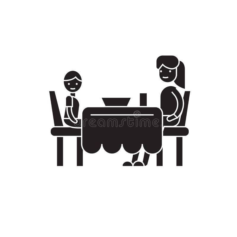 Zoon en mamma die pictogram van het diner het zwarte vectorconcept hebben Zoon en mamma die diner vlakke illustratie, teken hebbe royalty-vrije illustratie