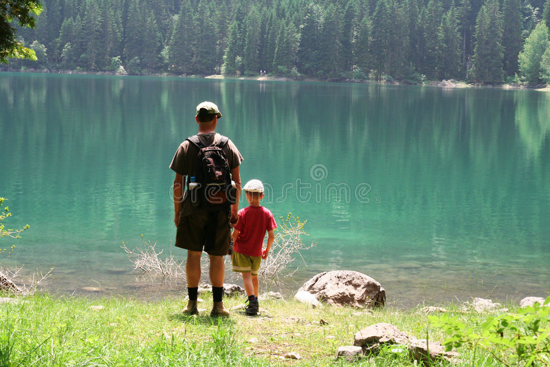 Zoon en papa stock afbeelding