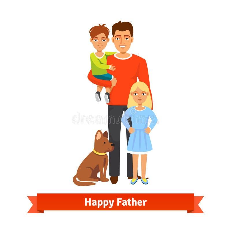 Zoon van de vaderholding, dochter die, hond het situeren de bevinden zich vector illustratie