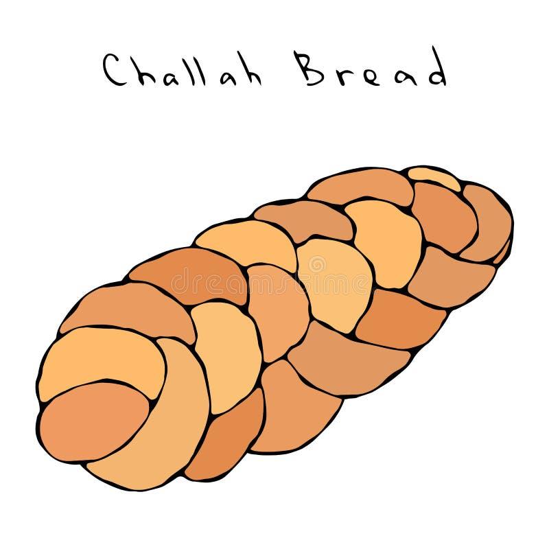 Zopf ή ψωμί Challah Εβραϊκό ή ελβετικό, αυστριακό ή βαυαρικό αρτοποιείο Ρεαλιστική συρμένη χέρι απεικόνιση Savoyar Doodle ελεύθερη απεικόνιση δικαιώματος
