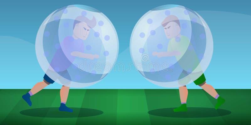 Zorb足球戏剧概念横幅,动画片样式 库存例证