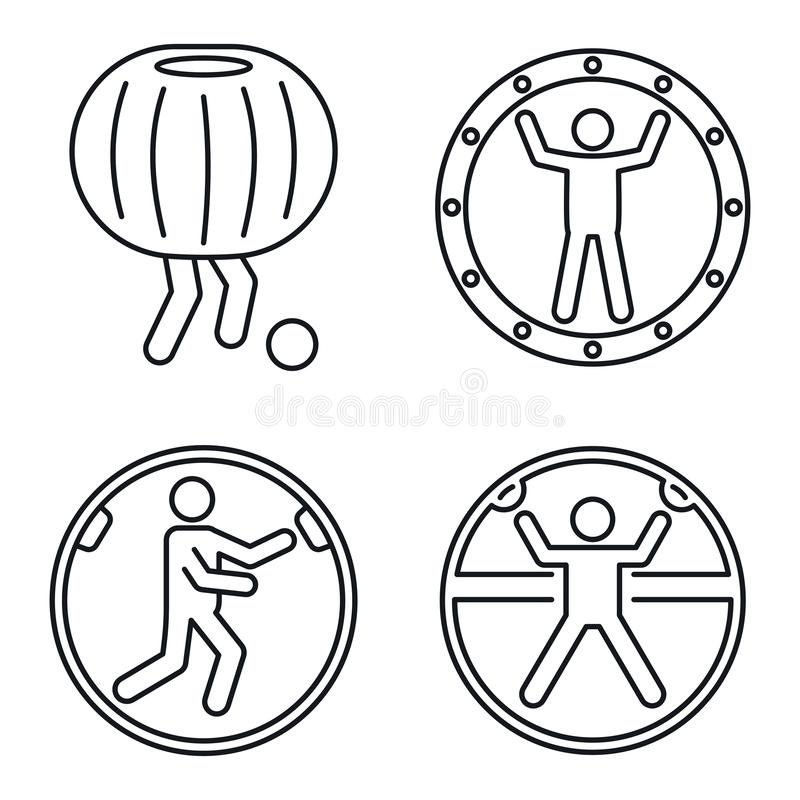 Zorb ball activity icons set, outline style vector illustration