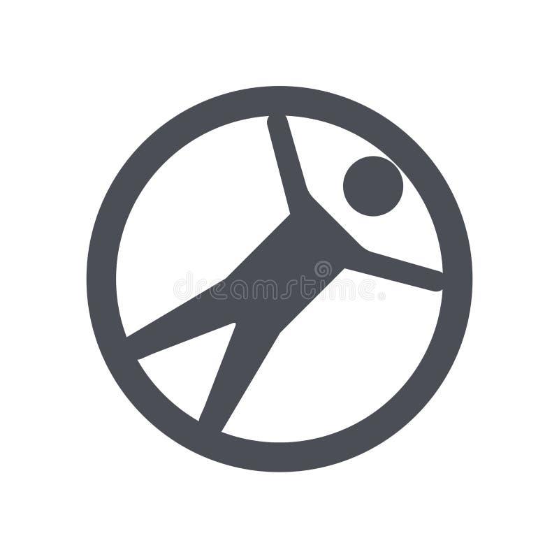 Zorbing象在白色背景和标志隔绝的传染媒介标志,Zorbing商标概念 皇族释放例证