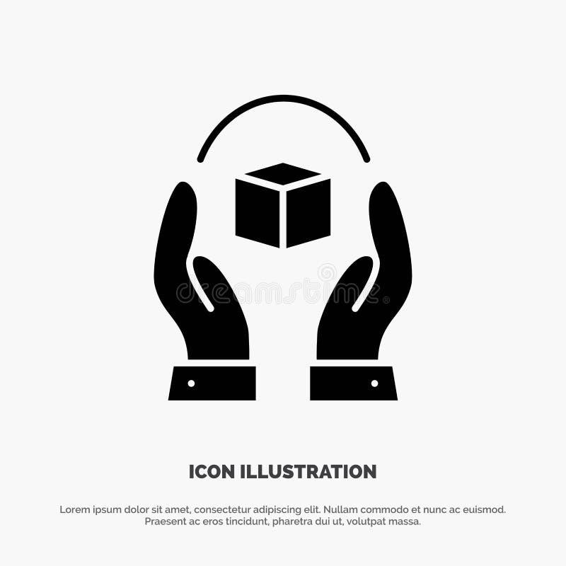 Zorg, het Geven, Handvat, Product, het Pictogramvector van Verantwoordelijkheids stevige Glyph royalty-vrije illustratie