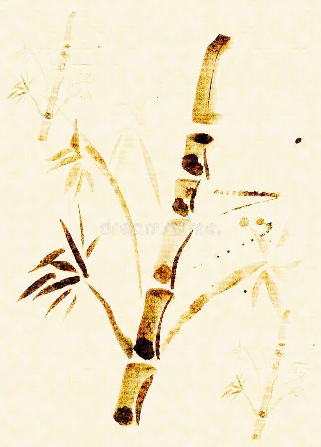 Zorgeloos getrokken bamboe royalty-vrije illustratie
