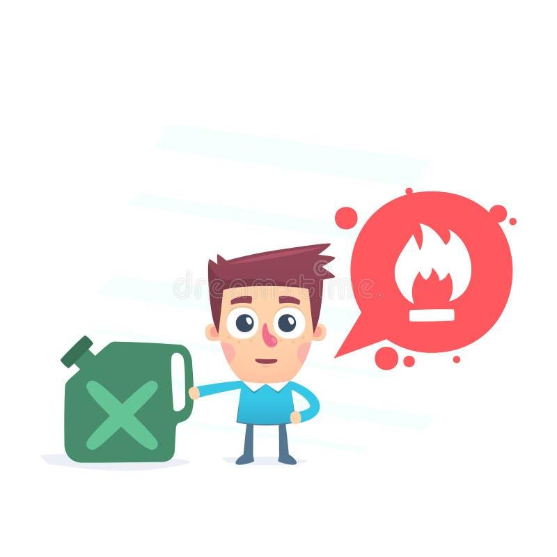 Zorgvuldig ben! brandbaar vector illustratie