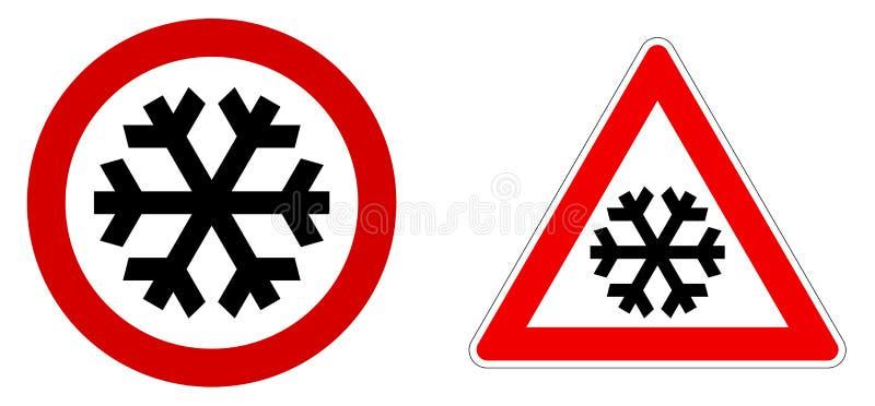 Zorgvuldig sneeuw/koude/de winterteken Zwarte sneeuwvlok in rode cirkel en driehoek vector illustratie