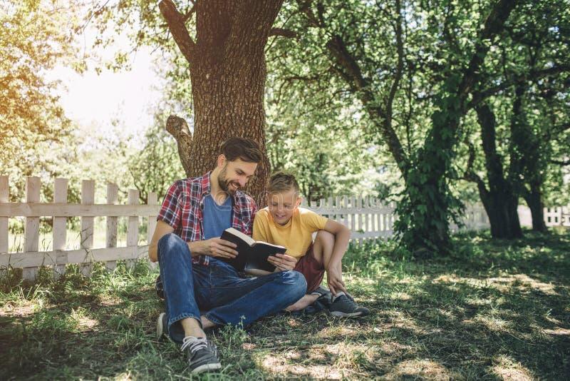 Zorgvuldig zit een goede vader met zijn zoons inder boom en houdt boek Zij bekijken het Zij lezen het stock fotografie