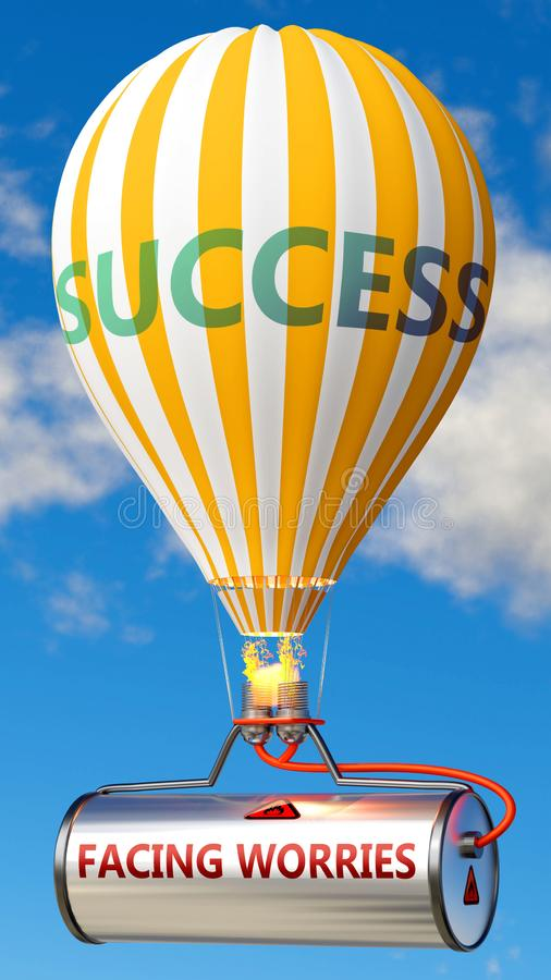 Zorgwekkend en succes onder ogen zien - getoond als woord Facing-zorgen op een brandstoftank en een ballon, om te symboliseren da royalty-vrije illustratie