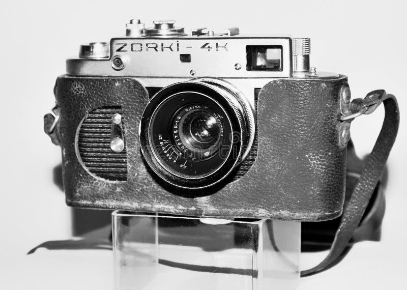Zorki vintage camera in black and white. Black and white image of Zorki vintage camera stock images