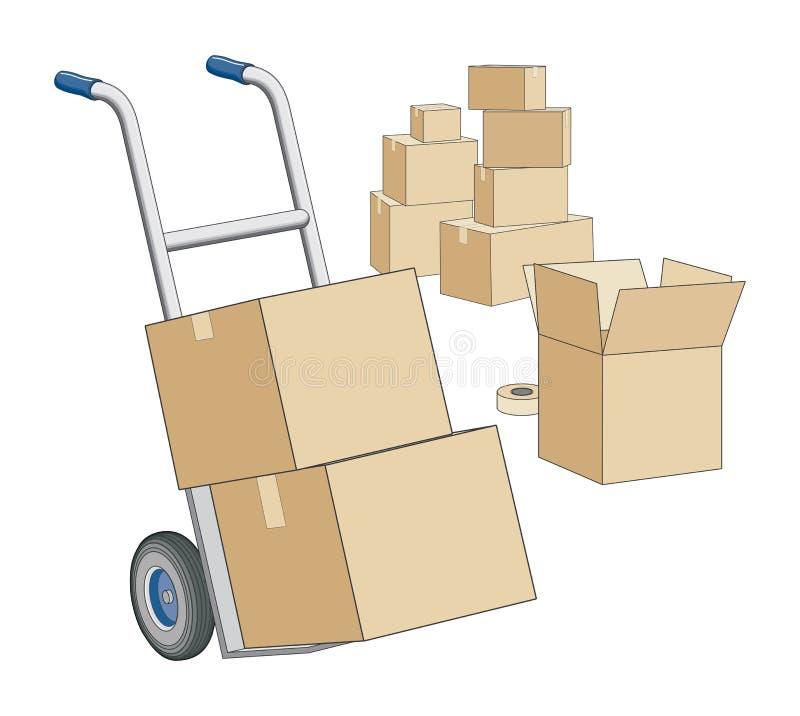 Zorra e caixas moventes ilustração stock