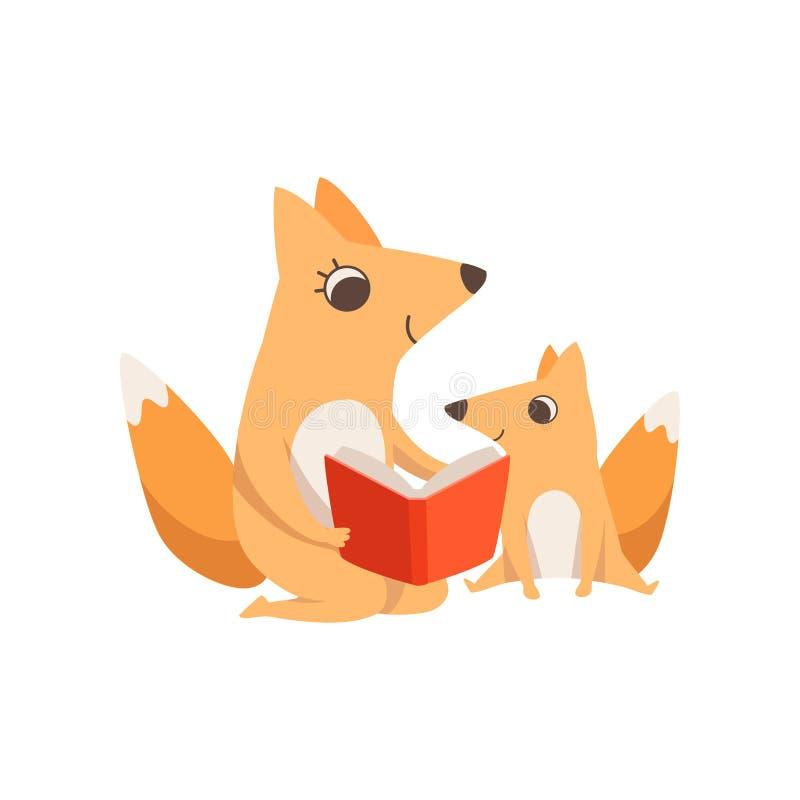 Zorro cariñoso de la madre que lee un libro a su niño, familia animal, ejemplo parenting del vector del concepto en un fondo blan ilustración del vector