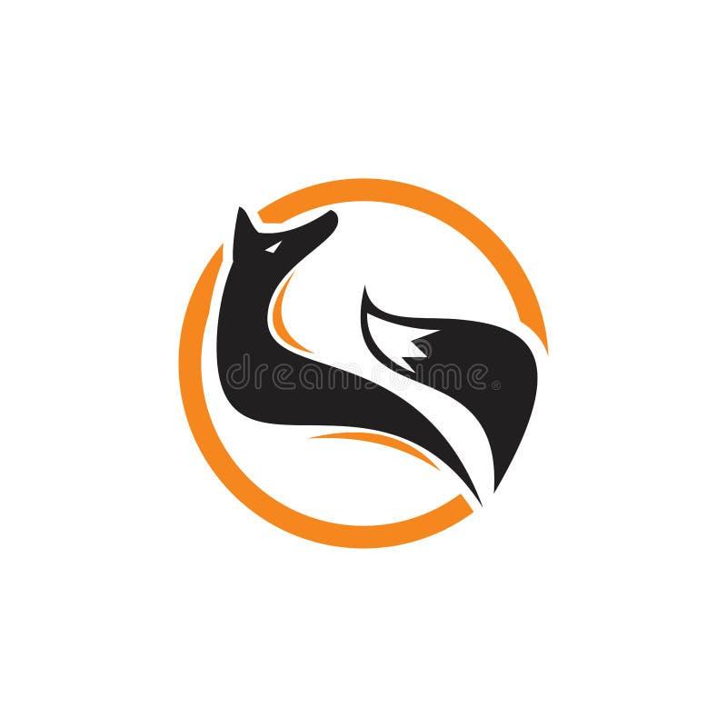 Zorro del círculo extraído para el logotipo de la mirada, imagen de un diseño del zorro en un fondo blanco, animales salvajes del stock de ilustración
