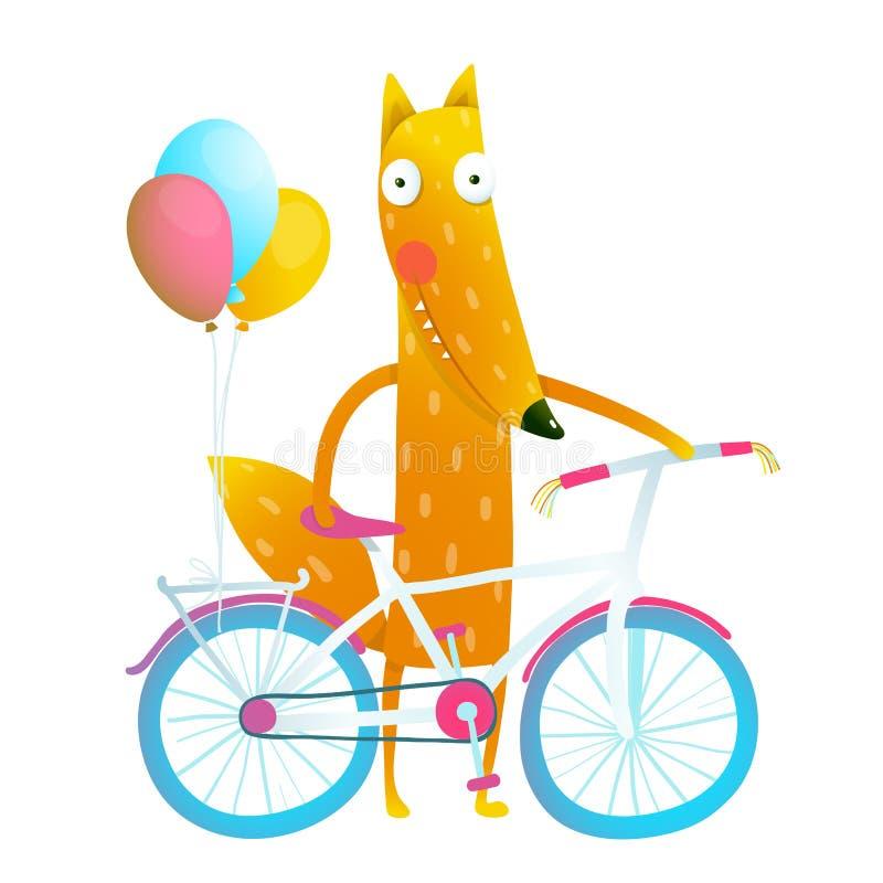 Zorro divertido rojo de la historieta con la bicicleta y los globos ilustración del vector