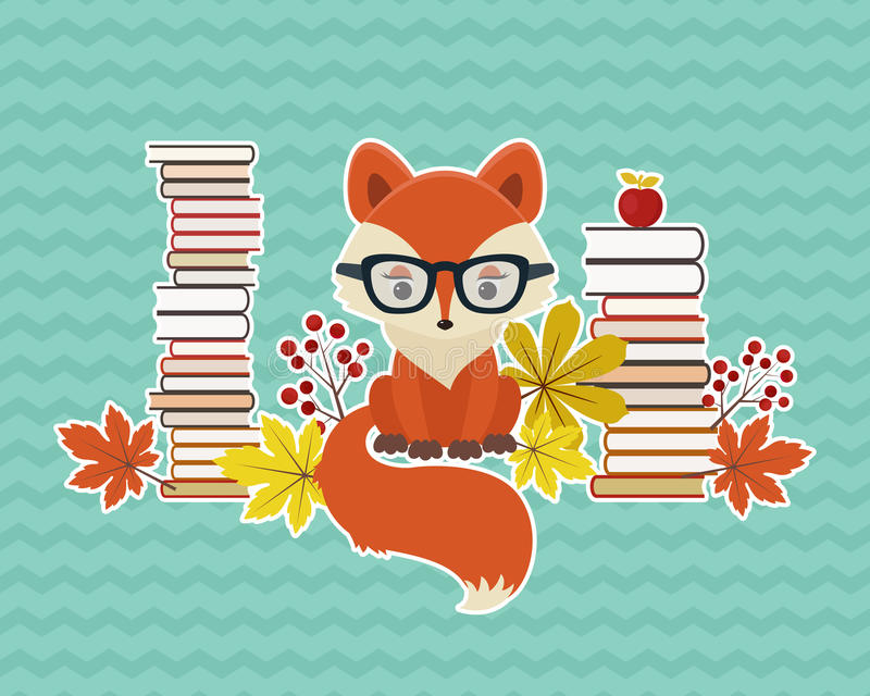 Zorro elegante con muchos libros y hojas de otoño libre illustration