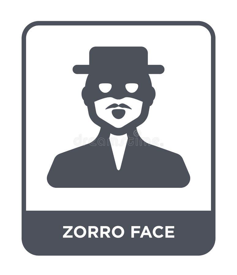 zorro Gesichtsikone in der modischen Entwurfsart zorro Gesichtsikone lokalisiert auf weißem Hintergrund zorro Gesichts-Vektorikon vektor abbildung