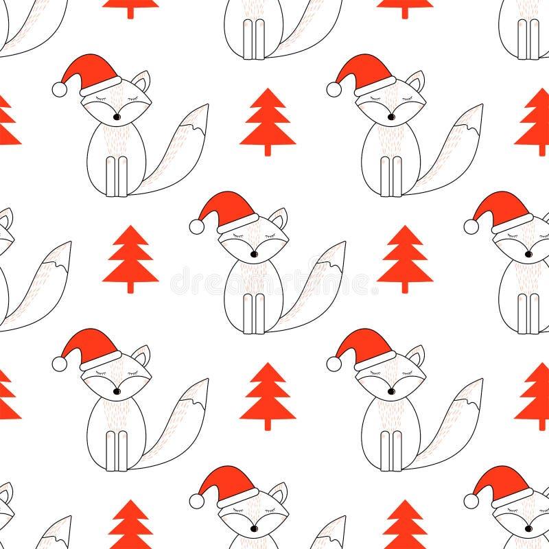Zorro lindo Día de fiesta de la Feliz Año Nuevo y de la Navidad Modelo incons?til libre illustration