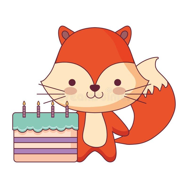 Zorro lindo y pequeño con la torta dulce libre illustration