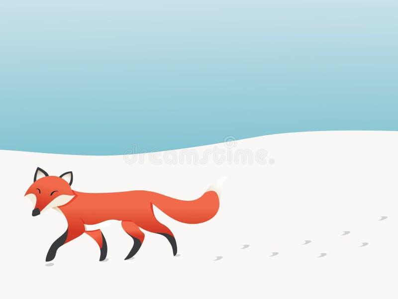 Zorro que camina ilustración del vector