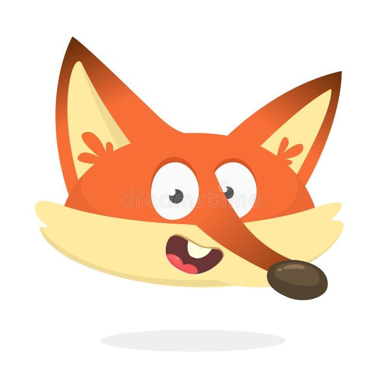 Zorro rojo de la historieta que habla o que canta Ejemplo del vector del icono sonriente rojo del zorro ilustración del vector