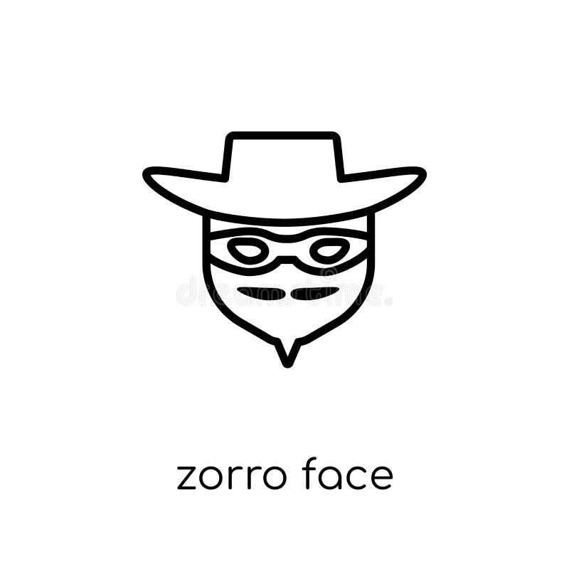Zorro stellen Ikone gegenüber Modischer moderner flacher linearer Vektor Zorro stellen ico gegenüber stock abbildung