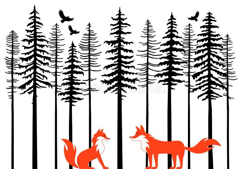 Zorros en el bosque, vector libre illustration