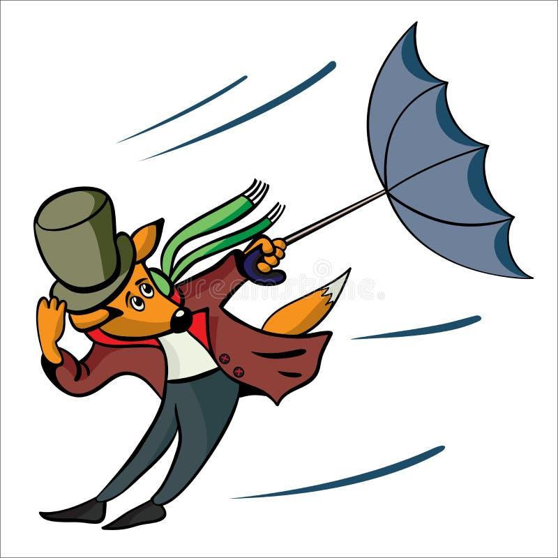 Zorros y un viento stock de ilustración