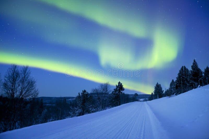 Zorz borealis nad drogą przez zima krajobrazu, Fiński los angeles obrazy stock