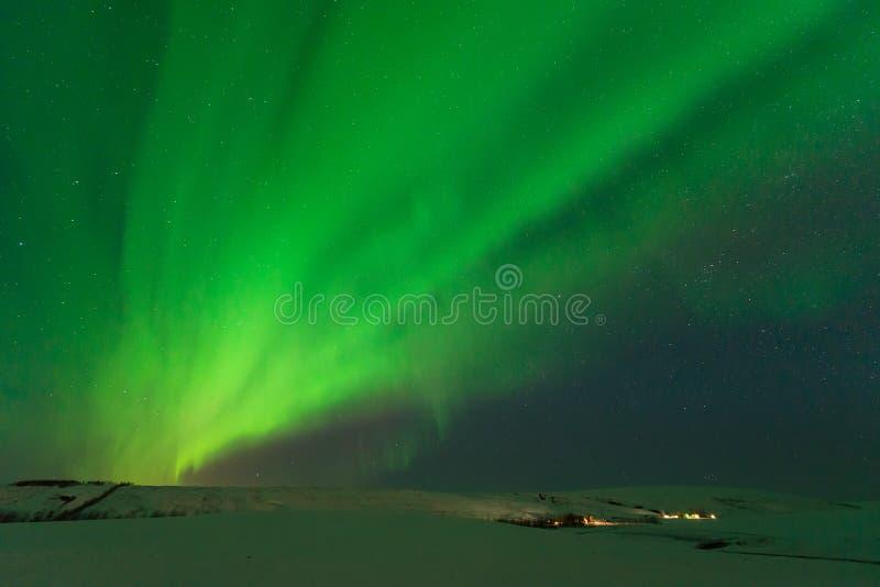 Zorza Borealis nad południowym Iceland (Północni światła) obraz royalty free