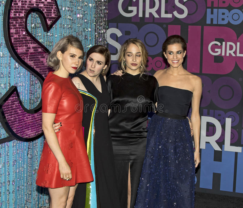 Zosia Mamet, Lena Dunham, Jemima Kirke, e Allison Williams fotos de stock royalty free