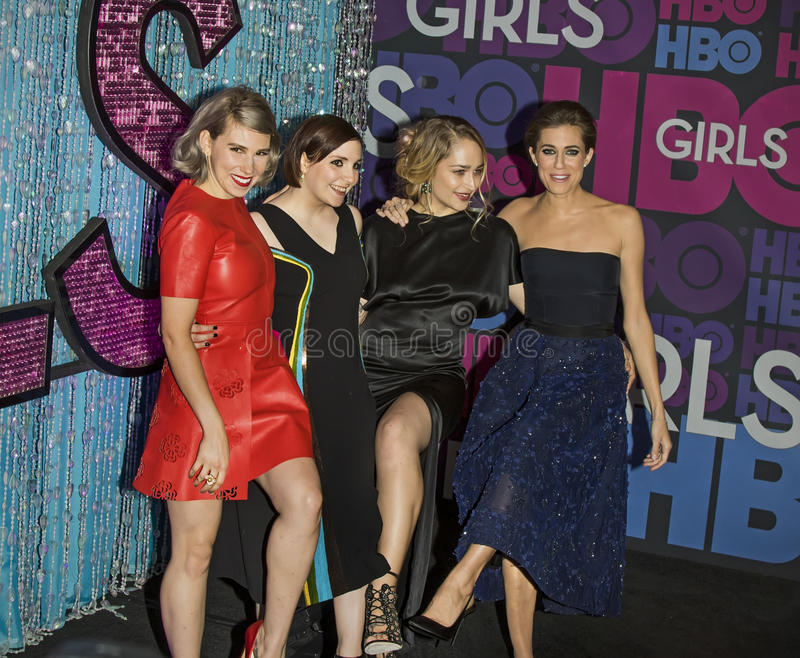 Zosia Mamet, Lena Dunham, Jemima Kirke, e Allison Williams imagens de stock