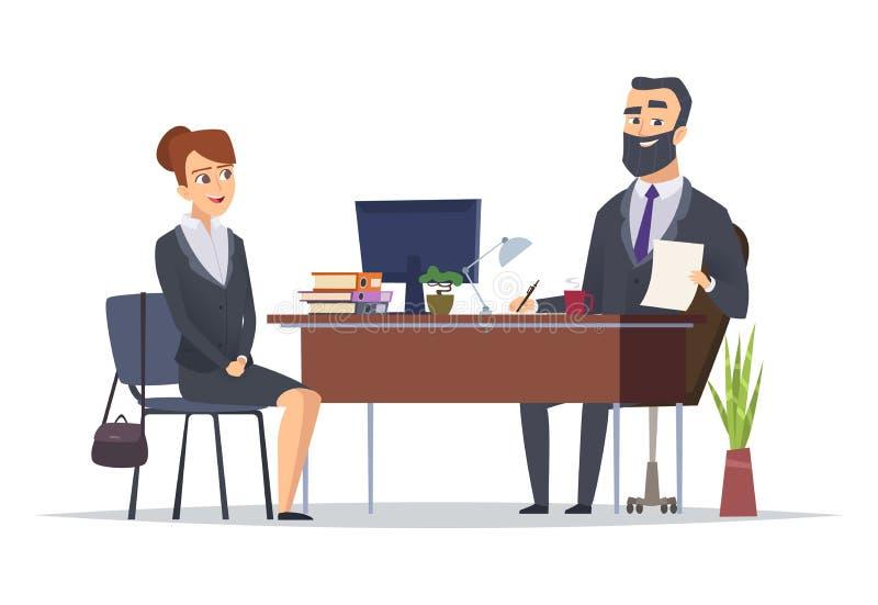 zostać one wywiad histeryczna praca jeden Biznesowy biuro spotyka hr kierowników dyrektorów pojęcia naczelnych wektorowych charak royalty ilustracja