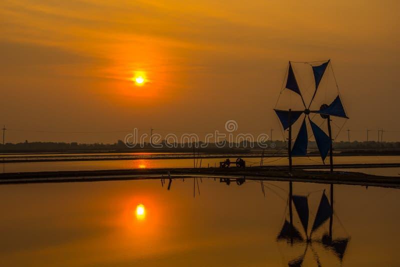 Zout landbouwbedrijf met windmolen in vroege ochtend stock foto