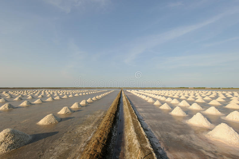 Zout Landbouwbedrijf, zoute pan in Thailand stock afbeeldingen