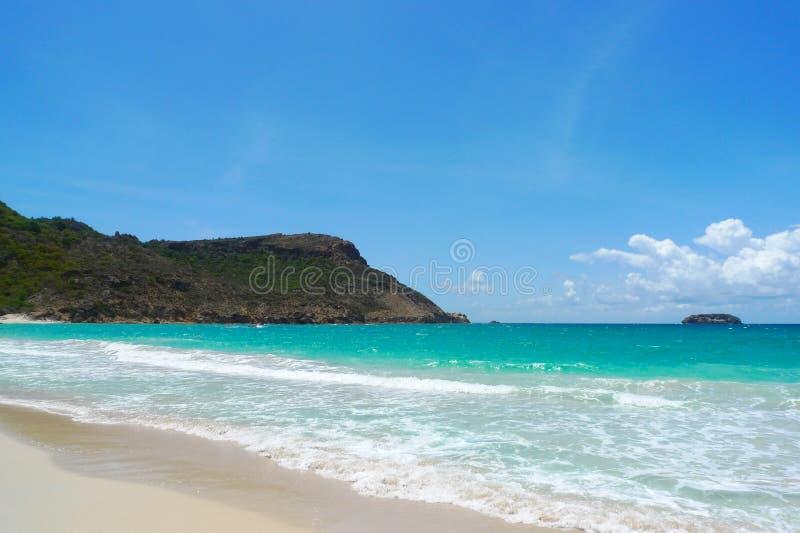 Zout strand bij St. Baronets, de Franse Antillen royalty-vrije stock foto's