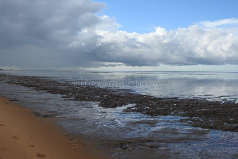 Zout strand in Frans-Guyana royalty-vrije stock afbeelding