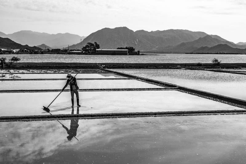 Zoute verdampingsvijver in centraal van Vietnam stock fotografie